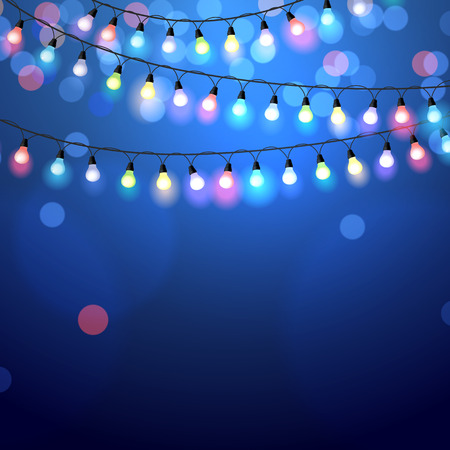 color background: glowing Christmas Lights on blue background