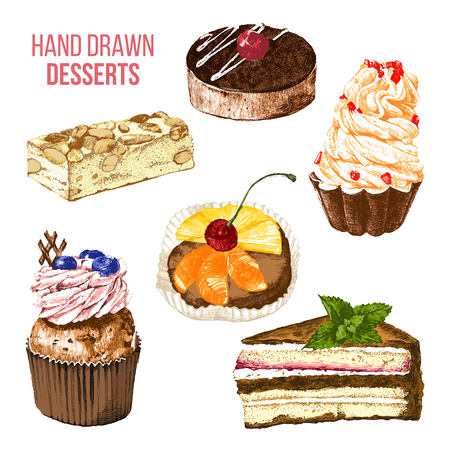 set of 6 colorful hand drawn desserts