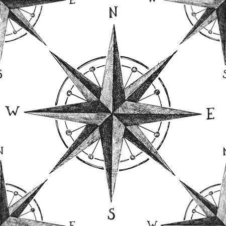 Nahtlose Muster mit Windrose Hand gezeichnet Standard-Bild - 48490976