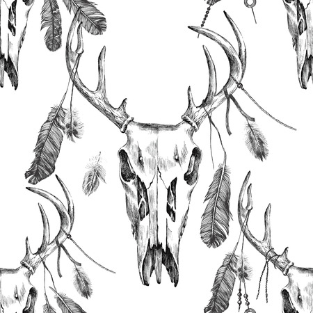 scull: seamless pattern with hand drawn deer scull and feathers