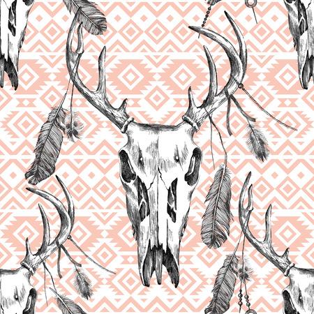 indios americanos: patrón transparente muy detallada con scull ciervos, plumas y adornos tribales