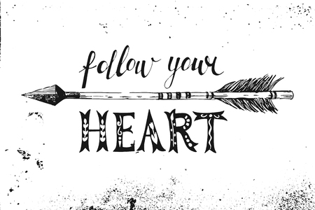 Follow your heart. Hand drawn black and white lettering Vettoriali