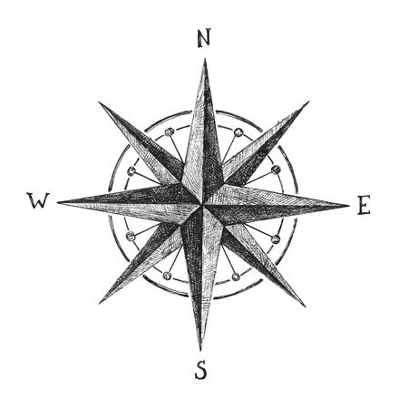 brujula: dibujado a mano viento blanco y negro se levantó Vectores