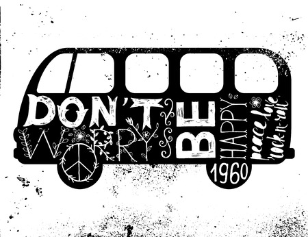 and worry: Vintage hippie time decorated van. Dont worry, be happy. Peace, love, rock-n-roll Illustration