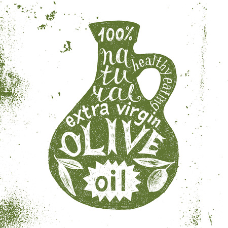 aceite de oliva: dibujado a mano silueta de la botella de aceite de oliva con diseño de texto Vectores