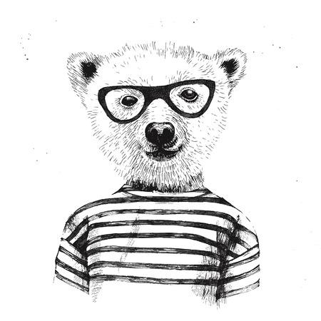 안경에 입고 힙 스터 곰의 손으로 그린 그림