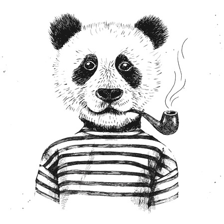 Hand drawn Illustration of dressed up hipster panda with pipe Stock Illustratie