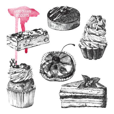 porcion de torta: conjunto de 6 postres en blanco y negro dibujado a mano