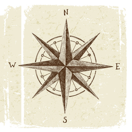 old west: hand drawn wind rose in vintage style