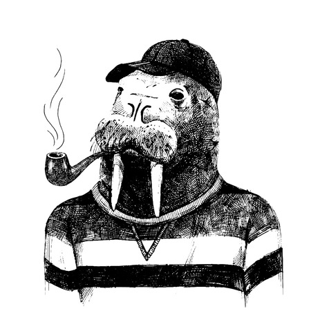 Hand drawn dressed up walrus in hipster style Vettoriali