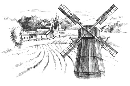 Hand drawn black and white landscape with mill Vettoriali