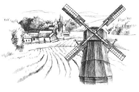 Hand getrokken zwart en wit landschap met molen