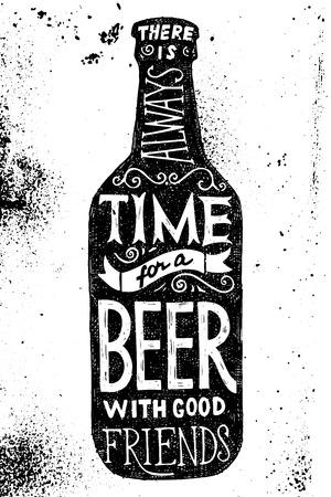 형 디자인 맥주 병 - 시간 좋은 친구와 맥주 항상있다 일러스트