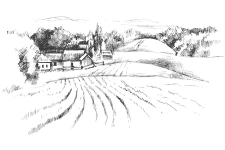 Hand drawn black and white landscape with fields