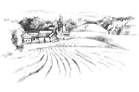 Hand gezeichneten Schwarzweiss-Landschaft mit Feldern Vektorgrafik