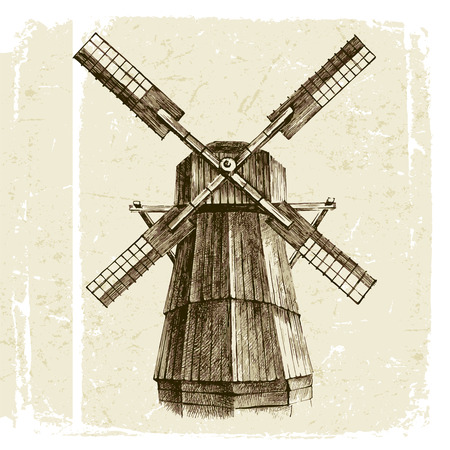 old houses: Hand drawn mill in retro style Illustration