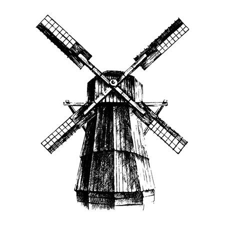dutch culture: Hand drawn black and white mill