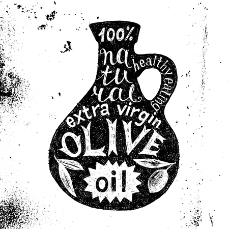 Hand drawn silhouette of olive oil bottle with text design Vetores