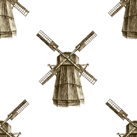 mills: Seamless pattern with hand drawn mills in retro style