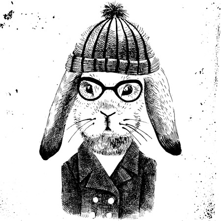 anthropomorphism: hand drawn illustration of dressed up bunny girl Illustration