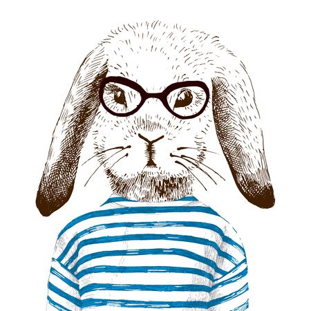 animal print: ilustración dibujados a mano de los vestidos del conejito Vectores