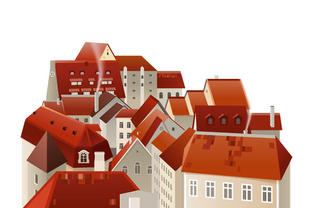 blue roof: town landscape over the white background Illustration