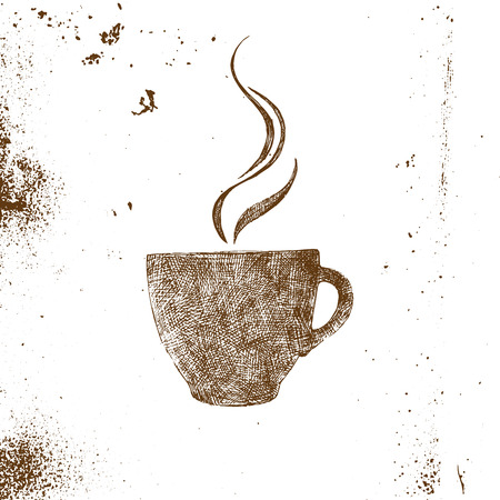 cups silhouette: hand drawn coffee cup on white background Illustration