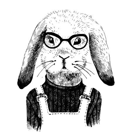 hand drawn illustration of dressed up bunny girl Illustration