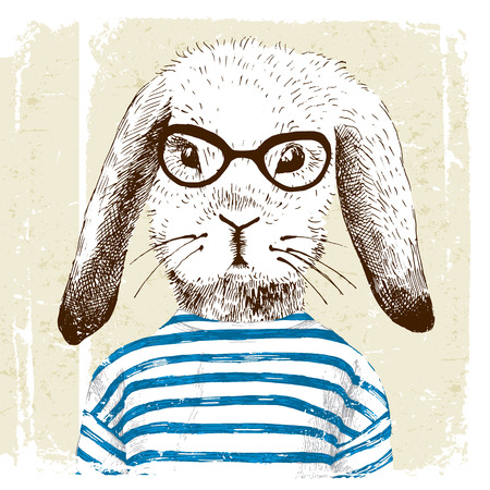 anthropomorphism: hand drawn illustration of dressed up bunny