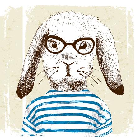 hand getekende illustratie van verkleed bunny Stock Illustratie