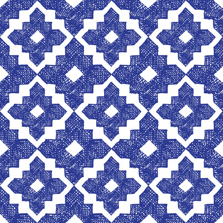 hand drawn highly detailed blue and white seamless pattern