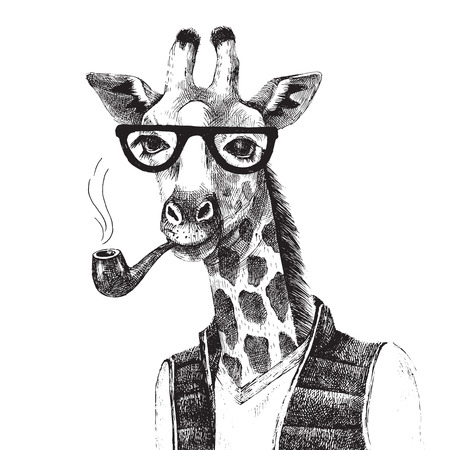 Hand drawn Illustration of dressed up giraffe hipster Çizim
