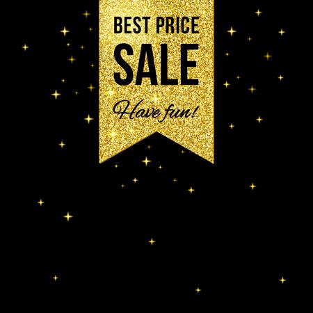 bage: Sale golden shining label on black background