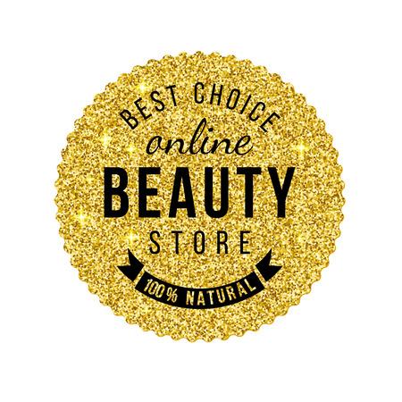 emblema de la belleza tienda de oro con diseño de tipo
