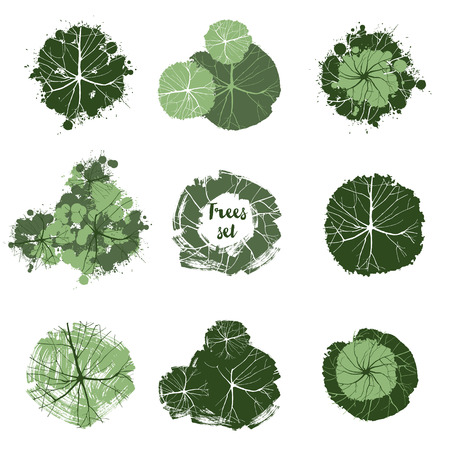 Trees top view. Easy to use in your landscape design projects Stock Illustratie