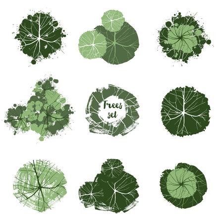 Bomen bovenaanzicht. Makkelijk te gebruiken in uw landschapsontwerp projecten Stock Illustratie