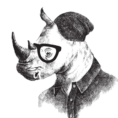 Hand drawn black and white dressed up rhino in hipster style Vettoriali