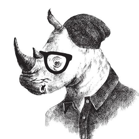 Ręcznie rysowane czarno-białe przebrany Rhino w stylu hipster