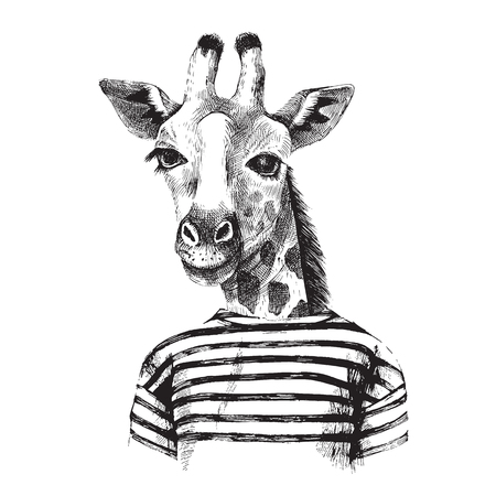 Hand drawn Illustration of dressed up giraffe hipster Illustration