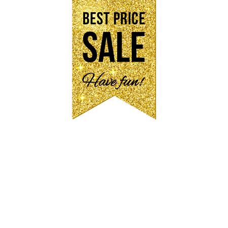 Sale golden shining label on white background