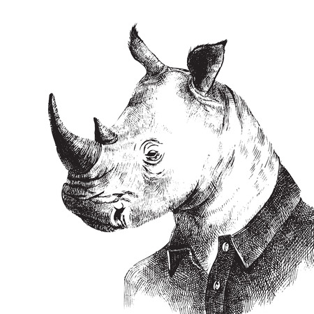 Hand drawn black and white dressed up rhino in hipster style Stock Illustratie