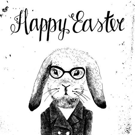 dressed up: Hand drawn Easter card with dressed up bunny hipster