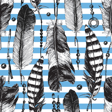 stripped: Stripped seamless pattern with hand drawn feathers