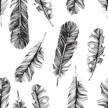 seamless pattern with hand drawn feathers