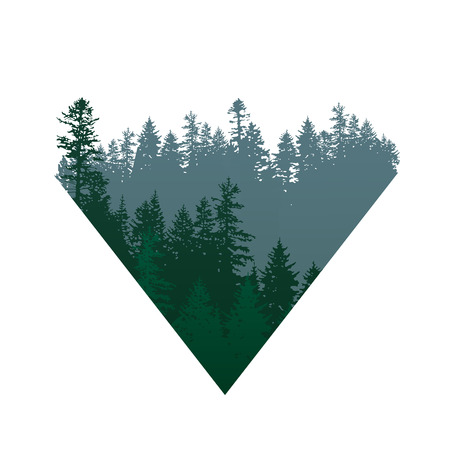triangle coniferous forests sign over white background