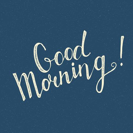 Good Morning handwritten lettering on blue background
