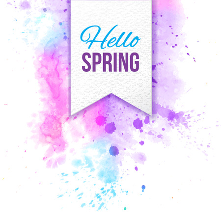 bage: hello spring text bage over bright watercolor background