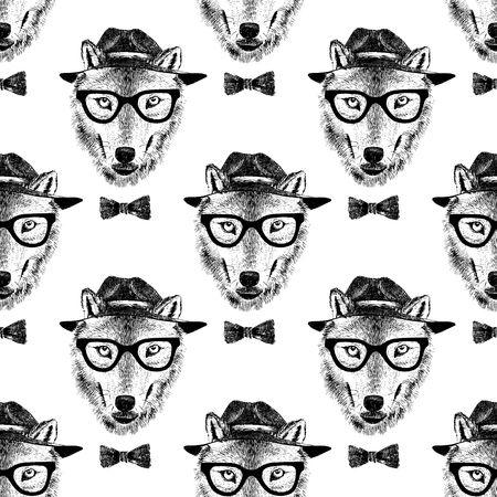 dressed: seamless pattern with dressed up hand drawn wolf hipster