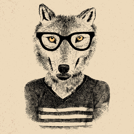 dressed up: Dressed up hand drawn wolf hipster
