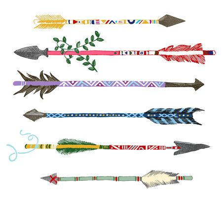 indios americanos: 6 flechas de colores dibujados a mano en el estilo tribal